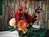 Centro decorativo con flores artificiales de papel crepé - Centro de mesa con peonias, rosas y flor de guisante de olor