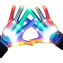 Topfire Light Up LED Skeleton Hand Gloves, Pair of 1 MultiColor LED Glove for Clubs, Raves, Festivals, Halloween, Bonfire Night, Party, Games