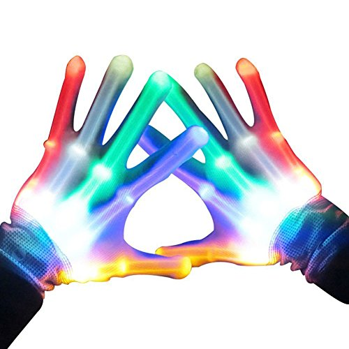SKL Light Up LED Skeleton Hand Gloves, Pair of 1 MultiColor LED Glove for Clubs, Raves, Festivals, Halloween, Bonfire Night, Party, Games