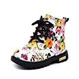Baby Schuhe Sonnena Mädchen Mode Floral Kinderschuhe Baby Martin Stiefel Casual Kinder Stiefel Baby Mädchen/Print/Zip/All Seasons/Lackleder/Flach (28, Schöne Weiß)