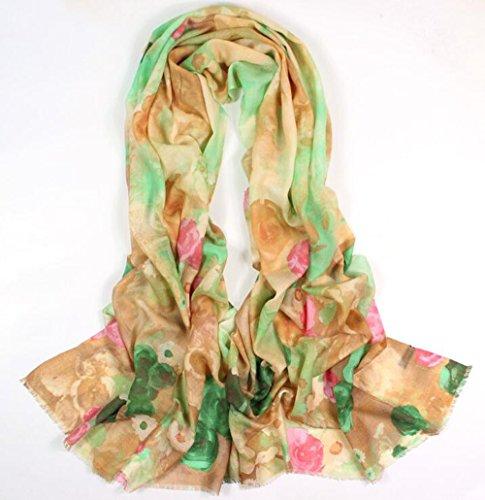 Mme 100% Pure Laine Mode Foulard Simples Foulards De Couleur Solide green