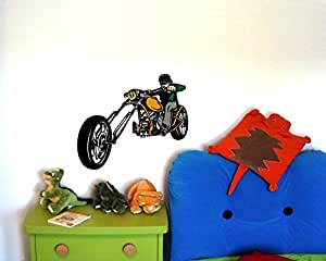 Buntes Chopper Wandtattoo Cruiser Motorrad Rocker in 3 Größen (30x26cm mehrfarbig)