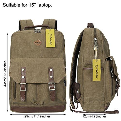 Imagen de fafada  vintage canvas moda unisex laptop  bolso para escuela acampar viajes caqui alternativa