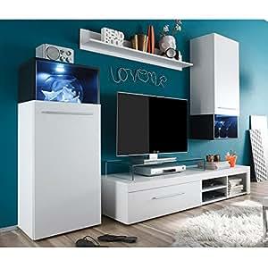 trendteam MC94702 Wohnwand Wohnzimmerschrank Anbauwand weiss, Absetzungen schwarz, Glas Pasol grau, BxHxT 234x183x47 cm