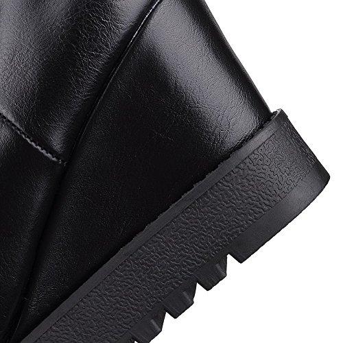 VogueZone009 Damen Ziehen Auf Hoher Absatz Blend-Materialien Gemischte Farbe Stiefel Schwarz