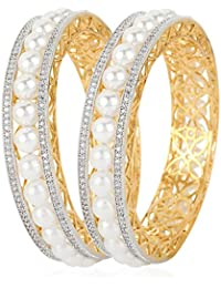Jewels Galaxy American Diamond Interchangeable Broad Bangles Cum Pearls Bracelet - Set Of 4