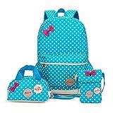 FRISTONE Mädchen Polka Punkt Schulrucksack Kinder Daypack/schulrucksäcke /Kinderbuchtasche Mädchen Teenager + Mini handtasche + Geldbeutel Umhängetasche,Set von 3 (Blau)