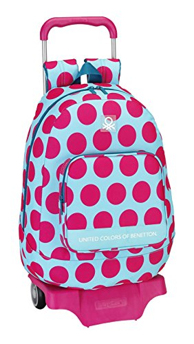 077024 Benetton Dots Mochila Tipo Casual, Color Fucsia y Azul