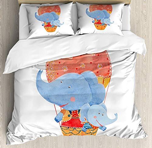 Colorido juego de funda nórdica tamaño king, elefantes madre y bebé volando...
