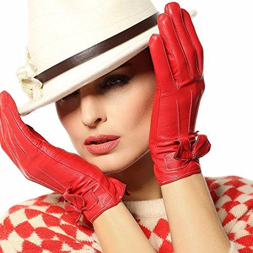 WARMEN Winter Warme Echter Nappa Lederner Elegante Damenhandschuh für Damen mit Bögen (6.5, Rot) (Winter Für Mit Bogen Frauen Schuhe)