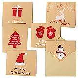 FEPITO 30Pz Buon Natale Biglietti d'auguri Biglietti Kraft Biglietti di Auguri con Buste e Adesivi, 4,72 x 7,87 Pollici
