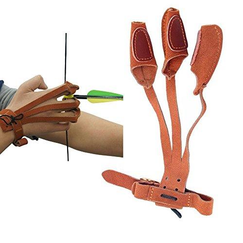 SPORTSMANN Bogenschießen Leder Finger Guard Fingerschutz 3 Finger Schießhandschuh Guard Shoot Handschuhe Protector für Jagd Schleife Ziel Schießen Bogensport (Braun) (Diy Handschuh Bogenschießen)