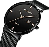 Mens Stainless Steel Mesh Bracelet Watches Men Waterproof Date Calendar Simple Design Analogue Quartz Watch Gents Business Casual Luxury Dress Black Wrist Watches with Black Dial (Balck)