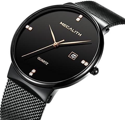 Mens Stainless Steel Mesh Bracelet Watches Men Waterproof Date Calendar Simple Design Analogue Quartz Watch Gents Business Casual Luxury Dress Black Wrist Watches with Black Dial (Balck)