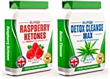 RASPBERRY KETONES x60 + COLON CLEANSE x60 - Max Strength Fat Burners and Colon Cleanse DETOX Capsules - Slimming Diet Pills | Suppress Appetite, Boost Metabolism and Increase Energy for Weight Loss