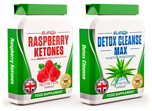 RASPBERRY KETONES x60 + COLON CLEANSE x60 - Max Strength Fat Burners and Colon Cleanse DETOX Capsules - Slimming Diet Pills | Suppress Appetite, Boost Metabolism and Increase Energy for Weight Loss Test
