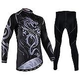 TTPF Maglia da Ciclismo Set Manica Lunga Sportswear Mountain 3D Pantaloni Spessi Pantaloni Traspirante Asciugatura Rapida per la Primavera all'aperto Autunno,M
