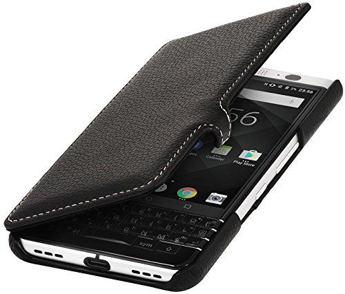StilGut Book Type Case mit Clip, Hülle Leder-Tasche für BlackBerry KEYone. Seitlich klappbares Flip-Case aus Echtleder für Das Original BlackBerry KEYone, Schwarz