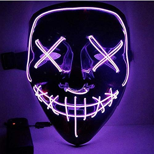 Kostüm Party Dekorationen - Kaliwa LED Purge Maske mit 3 Blitzmodi für Halloween Fasching Karneval Party Kostüm Cosplay Dekoration (Lila)
