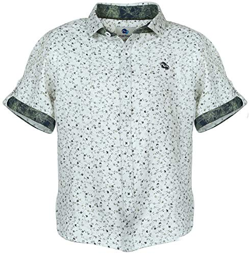 Marbles Boy's Half Sleeve Shirt with Cutaway Collar, Tropical Print, White (7-8 Years)