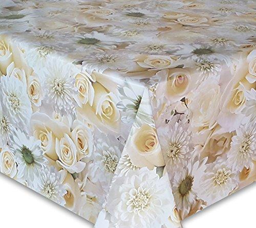 Wachstuch Tischdecke, Gartentischdecke, Eckig Rund Oval, Motiv u. Größe wählbar, (Blumenmeer Rose-gelb, Oval 130x170)