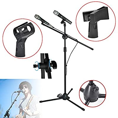 Nestling® Professional Boom Tripod Microphone Mic Stand Holder Adjustable With Folding Legs, Can Support Two Microphones at the Same Time