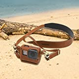 AFAITH Handmade Leather Case Retro Sports Camera Protective Leather Case Carrying Protective Housing Holder Bag Special Lanyard Accessories For Gopro Hero 5&Hero 6 GP072