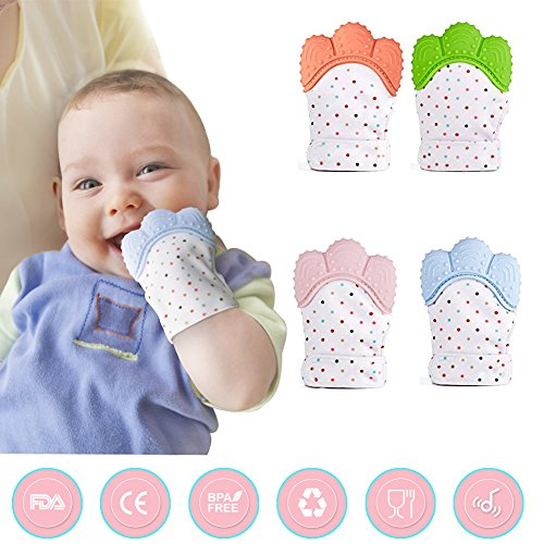 Mitt Baby Teething Mitten Soother Glove Original Silicone Teether Mitten Soothing Pain Relief for Sore Gums and Cutting Teeth-Age 3-12 Months 51X62F2cJoL