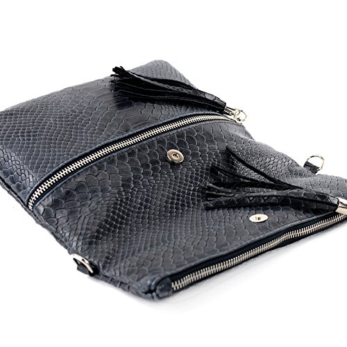 Italiano Borsa in pelle Clutch Borsa a tracolla borsa Clutch in pelle liscia serpente effetto T130 T130A Dunkelblau