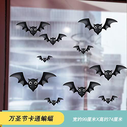 calabaza de Halloween tienda de vidrio puerta ventana escena diseño decorativo pegatinas de pared papel autoadhesivo, 07 murciélago de dibujos animados de Halloween 99 * 74 CM ()