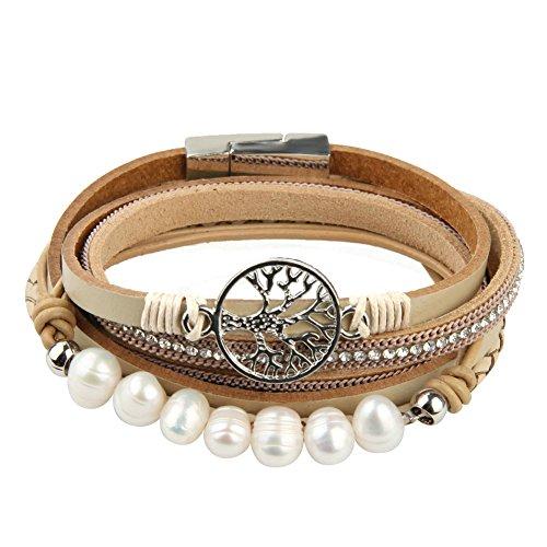 JOYMIAO Baum des Lebens Leder Armband BOHO Seil Manschette Armband Perlen Wrap Armreif für Frauen Valentinstag Geschenk (beige) ... (Baum Manschette Leder Des Lebens)
