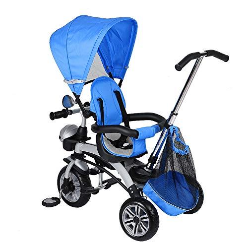 Triciclo para Niños con Barra de Empuje Multifuncional Cochecito Bicicleta para Bebés con Capota Plegable, Barra Telescópica para los Padres, Cinturón de Seguro, Red de...