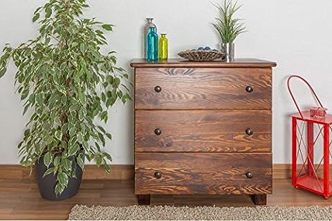 Dresser solid pine wood nut brown 001 - Dimensions 80