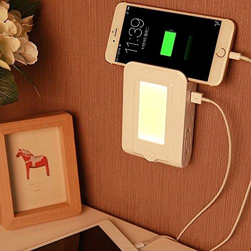 Shiny shop 5V 2.1A LED Nachtlicht Doppel-USB-Ladeschnittstelle + 4 Steckdosen, Hauptbeleuchtung, amerikanischer Stecker, Größe: 12.9 * 8.4 * 3.5cm Geburtstagsgeschenk