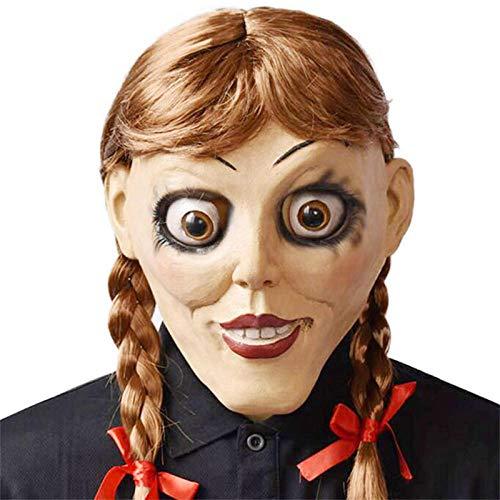 qiumeixia1 Film Annabelle kommt nach Hause Cosplay Maske Latex Scary Creepy Doll Voller Kopf Haar Erwachsene Halloween Kostüme Prop Kopfbedeckungen (Scary Doll Kostüm)