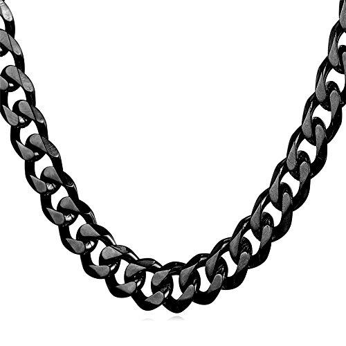 U7 Herren Panzerkette 9mm Schwarz Metall plattiert Halskette Gliederkette Hiphop Biker Rocker Kette Schwarz Ton (Länge 55cm) (Zoll 22 Halskette)