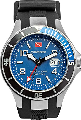 Cressi Traveller Dual Time-Diving Watch Reloj Submarino, Unisex Adulto, Negro/Azul, Uni