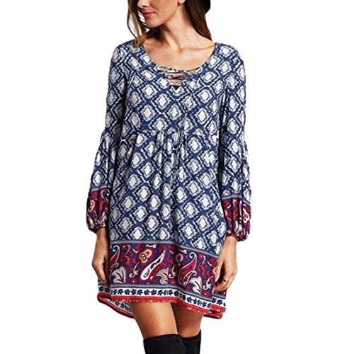 Sannysis Frauen Böhmisches gedrucktes Kleid (S, Blau) (Rock-spitze-hochzeit Kleid Volle)