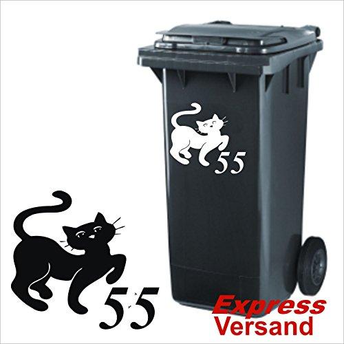 """Preisvergleich Produktbild Mülltonnen Aufkleber """"Katze mit Nummer"""" 30 x 20 cm,  Aufkleber aus Hochleistungsfolie,  Hausnummer,  Mülltonne,  Mülleimer,  viele Farben zur Auswahl,  klebt auf allen glatten Flächen,  UV & Seewasserfest, Vinyl,  Sticker,  Ziffer,  Buchstabe, Klebeziffer,  Klebeziffern,  Klebezahlen,  Zahlen,  Straßennenm"""