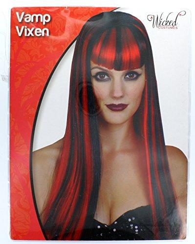 Schwarze Perücke Halloween (Lange Schwarz und Rote Vampir Halloween Perücke für)