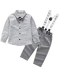 Bonjouree 2PC Hauts et Salopettes Bébé Garçon Chemise Manche longue et Pantalons Costume Bebe