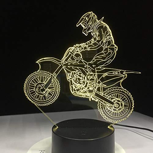orangeww 3d optische Täuschung Tischlampe / 7 wechselnden Farben Touch Nachtlicht Schreibtischlampe/Kinder Geburtstag Weihnachtsgeschenk/Motorcross Bike -