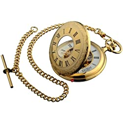 Pocket Watch Gold Plated Ornate Half Hunter with 17 Jewel Movement