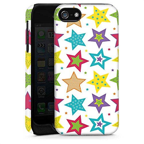 Apple iPhone 5s Housse Étui Protection Coque Étoiles couleurs Motif Cas Tough brillant