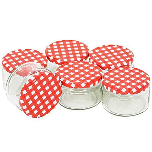 COM-FOUR® 6x pots à conserves à capuchon à vis en damier rouge/blanc, Ø 82 mm, 250 ml (06 pièces - 250 ml)