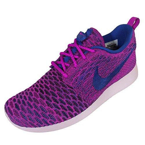Nike - Roshe Flyknit, Scarpe da corsa Donna Fuchsia Flash/Game Royal-Black