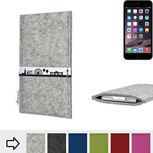 flat.design Filztasche SKYLINE mit Webband Wien für Apple iPhone 6 - Maßanfertigung der Filz schutzhülle aus 100% Wollfilz (anthrazit) - Case Hülle im Slim fit Design für Apple iPhone 6 hellgrau