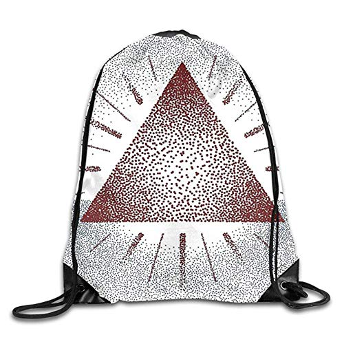 HLKPE Men Women Digital Triangle Form with Dots Retro Pyramid Spiritual Artsy Graphic Gym Drawstring Backpacks Shoulder Bags Stylish Sack Backpack For Home Travel Exercise