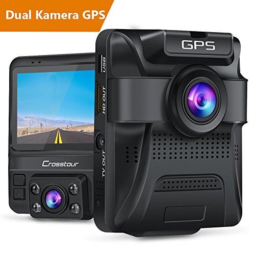 Crosstour Dash Cam Auto 1080P Vorne und 720p Hinten Kamera mit Eingebaute GPS Autokamera Dashcam mit Parkplatzüberwachung, Infrarot Nachtsichtmodus, Bewegungsmelder, Beschleunigungssensor and WDR