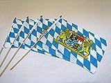 Bayerisch Fahnen am Holzstab 4-Stk Stockfahnen Deko Bayern Weiß-Blau mit Wappen